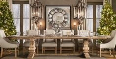Contemporary Dining Room with Restoration hardware salvaged wood trestle rectangular extension dining table, Chandelier Trestle Dining Tables, Dining Room Table, A Table, Wood Table, Dining Rooms, Rustic Table, Dining Area, Clock Table, Dining Chairs