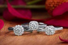 Naledi engagement rings. Halo engagement rings.