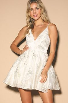 Stun all night long in the Lulus Feel Like This Forever White Embroidered Skater Dress! Embroidered organza skater dress with a plunge neckline and mini skirt. Cute Skater Dresses, Simple Homecoming Dresses, Junior Party Dresses, Hoco Dresses, Party Dresses For Women, Formal Dresses, Elopement Wedding Dresses, Bachelorette Outfits, White Embroidered Dress