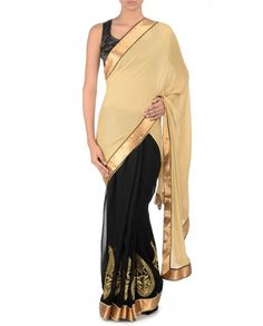Embroidered Beige and Black Sari