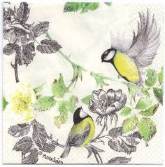 Decoupage Napkins Two Birds with a Dog Rose Paper by Chiarotino