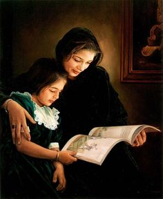 Mother and Daughter and a Book. Mehrdad Jamshidi (1970, Iranian)