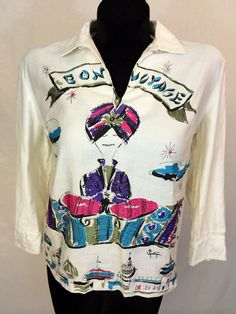 1960s Sportempo Bon Voyage Blouse by InTheRoughFashion on Etsy