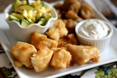 What's not to love about Beer Battered Halibut? Tender flaking fish with a thin beer batter crust, served with Creamy Dill Sauce and the Raw Corn and Zucchini Salad made a delicious dinner this week. Halibut Recipes, Fish Recipes, Seafood Recipes, Salad Recipes, Cooking Recipes, Yummy Recipes, Keto Recipes, Dinner Recipes, Cooking