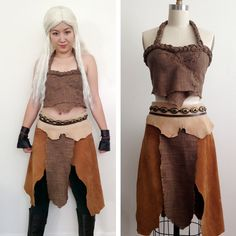 Daenerys Targaryen Cosplay Game of Thrones Khaleesi Dothraki Dress Leather Costume Handmade Set