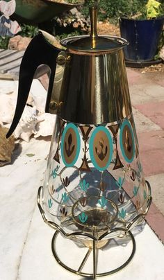 Vintage MCM Fred Press Turquoise & Gold Coffee Carafe Pyrex