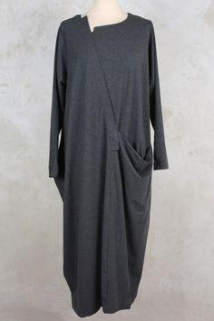 Dress with Oversized Pocket in Grey - Moyuru