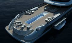 Megayacht concept 70m with a lap pool on a multi-functional desk (pool container variation) _