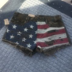 RALPH LAUREN FLAG/CAMO SHORTS Patriotic Camouflage Cutoff Shorts. American Flag over Camo. Cut, Shredded and Stitched in all the right places. NEW W/ TAGS ! Ralph Lauren Shorts Jean Shorts