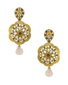 Gold Plated Floral Themed Earrings Set With Kundans, Cz