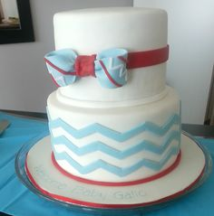 Beautiful blue and red chevron airplane themed baby shower - Baby on Board!
