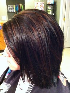 dark purple highlights in brown brunette short hair