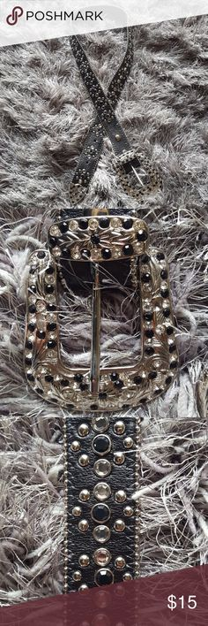 Genuine leather rhinestone belt. Genuine leather and rhinestone belt. Excellent condition. Size small/medium. Accessories Belts