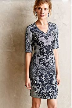 NEW Anthropologie navy Yoana Baraschi Lace Print Form Fitting Stretch Dress 10 #YoanaBaraschi #ShiftDress #versatile