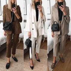 Classic Work Outfits, Classy Outfits For Women, Casual Work Outfits, Office Outfits, Work Casual, Suits For Women, Stylish Outfits, Fall Outfits, Basic Fashion