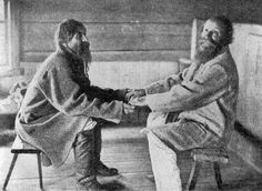 Brothers Poavila and Triihvo Jamanen reciting  traditional Finnish folk poetry (Kalevala) in the village  of Uhtua , present-day Republic of Karelia, Russia, 1894.  While singing they swing their bodies backward and forward.  Often the singers sit facing each other astride the same  bench instead of on opposite benches