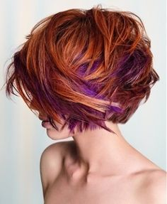 Purple highlights in layered hair. This looks really cool