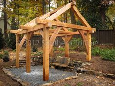 timber frame garden structure, outdoor living, woodworking projects, Another look at the structure