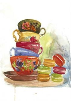Colourful Cups and Macaroons (35 pieces)