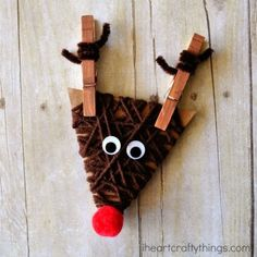 Yarn Wrapped Reindeer Craft for Kids