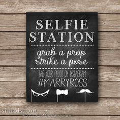 Selfie Station Photo Booth Chalkboard Sign  by SimplyPutPrintables