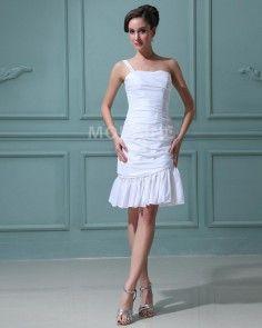 Une seule bretelle robe de mariée en taffetas fourreau courte