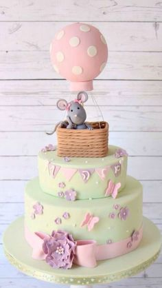 Little Mouse In A Hot Air Balloon Cake By Noemi - https://www.facebook.com/Sugardreams.Modiin - (cakesdecor)