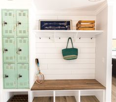 Great Mud Room Idea (Built in Lockers) -- As seen on HGTV's pilot episode of 'Rafterhouse'. Mudroom Cubbies, Mudroom Laundry Room, Locker Room Bathroom, Mudroom Cabinets, Inset Cabinets, Built In Lockers, Metal Lockers, Entry Way Lockers, Home Lockers