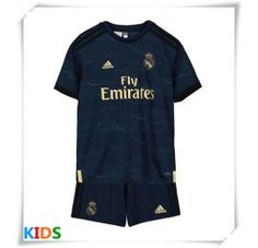 Real Madrid Replika babykläder Bortatröja Barn 2019/20 Kortärmad (+ Korta byxor) Equipacion Real Madrid, Long Sleeve, Sleeves, Mens Tops, T Shirt, Fashion, Football Shirts, Sergio Ramos, Short Shorts