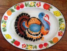 Vintage ENAMELWARE THANKSGIVING TURKEY SERVING PLATTER 1950's Stenciled Folk Art