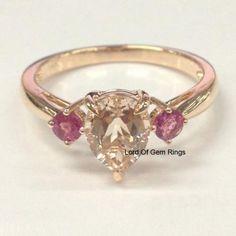 Pear Morganite Engagement Ring  Pink Tourmaline 14K Rose Gold 6x8mm - Lord of Gem Rings - 1
