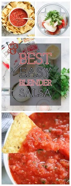 The Best Quick and Easy Blender Salsa! Just throw all the ingredients in your blender, pulse, and serve! This Mexican style salsa is everyone's favorite and will work great for game night, football snacks, party appetizers etc! Easy Vegan Lunch, Vegan Lunches, Vegan Snacks, Vegan Food, Vegetarian Meals, Vegan Mexican Recipes, Delicious Vegan Recipes, Healthy Recipes, Blender Salsa