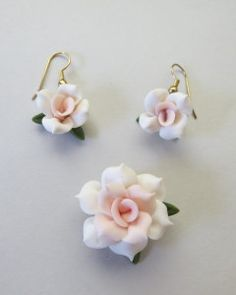 Cold Porcelain Pendant and Earring Set