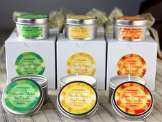 Homemade Soy Candles  #homemade #candles #gifts #labels