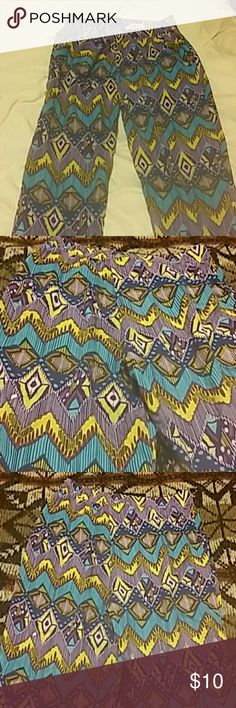 Print pants Purple and multicolored pants with elastic waistband and pockets, size large,30L,28/30 waist Pants Ankle & Cropped