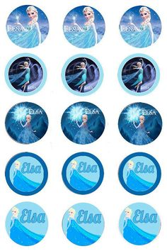 Elsa 1inch round bottle cap image sheet 4x6.  Commenly used for hair bows, necklaces, keychains, earrings and cupcake toppers