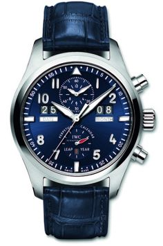 IWC Spitfire Perpetual Calendar Laureus edition, 2012. The one and only piece. Platinum case with the distinctive blue dial. Auctioned for €116,000 to support the charity.