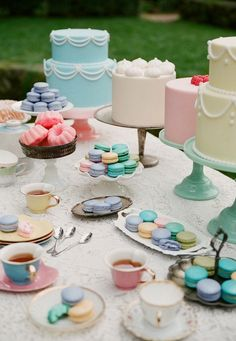 Such a colorful tea party spread. Such a great idea for a spring bridal shower of a fun afternoon outside. #PinnacleVodka