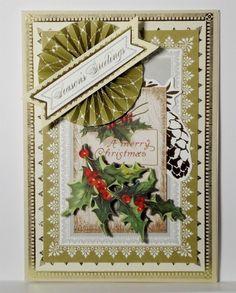 Christmas Seasons Greeting Card Handmade Anna Griffin Inspired 188 #Handmade #Christmas