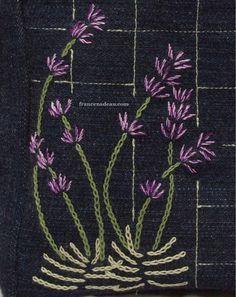 Lavender embroidery on small handbag - France Nadeau