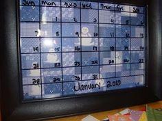 Glass Dry Erase Calendars