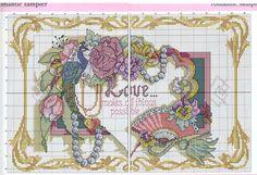 0 point de croix bijoux eventail romantique - cross stitch rpmantic fan and jewels