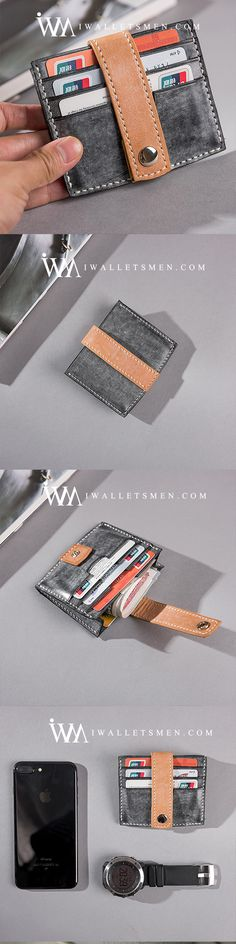 HANDMADE LEATHER MENS COOL SHORT WALLET CARD HOLDER SMALL CARD SLIM WALLETS FOR MEN