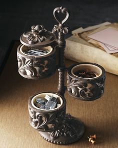 Three-Tier Cast-Aluminum Desk Caddy by GG Collection at Neiman Marcus.