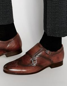 Hudson London Castleton Leather Monk Shoes