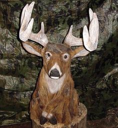 chainsaw carving | Large Deer with