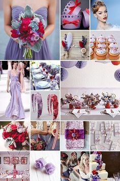 ( Like the different purples with the splash of red) Wedding ideas
