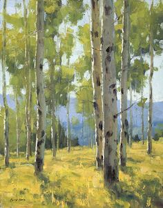 Late Summer Aspen by Keith Bond Oil ~ 14 x 11 Watercolor Trees, Watercolor Landscape, Abstract Landscape, Landscape Paintings, Birch Tree Art, Aspen Trees, Impressionist Paintings, Pictures To Paint, Art Plastique