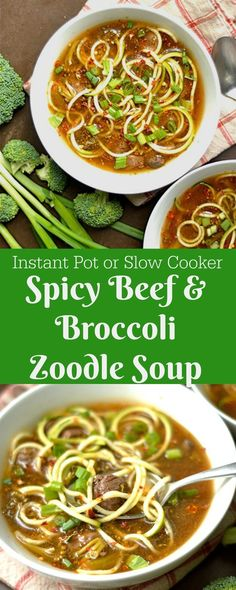 Spicy Beef and Broccoli Zoodle Soup is such an easy recipe for a cold weeknight!… Spicy Beef and Broccoli Zoodle Soup is such an easy recipe for a cold weeknight! Make in the slow cooker or your Instant Pot! Zoodle Recipes, Spiralizer Recipes, Crockpot Recipes, Healthy Recipes, Beef Soup Recipes, Fast Recipes, Top Recipes, Recipies, Spiral Zucchini