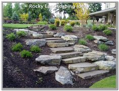 85 Gorgeous Front Yard Rock Garden Landscaping Ideas - front yard landscaping ideas with rocks Landscape Steps, House Landscape, Landscape Design, Garden Design, Landscape Architecture, Landscaping On A Hill, Landscaping With Rocks, Landscaping Ideas, Outdoor Landscaping